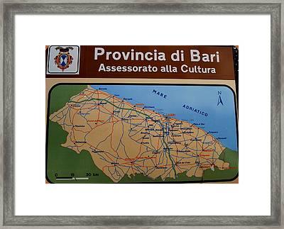 Map Of Bari Italy Framed Print