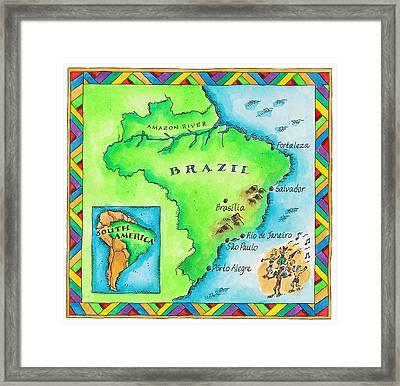 Map Of Brazil Framed Print by Jennifer Thermes