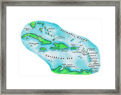 Map Of Caribbean Islands Framed Print