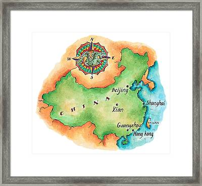 Map Of China Framed Print by Jennifer Thermes
