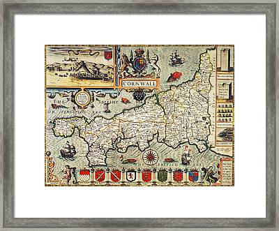 Map Of Cornwall Framed Print by John Speed