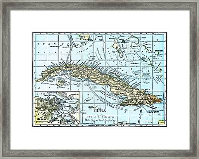 Map Of Cuba Framed Print by Pg Reproductions