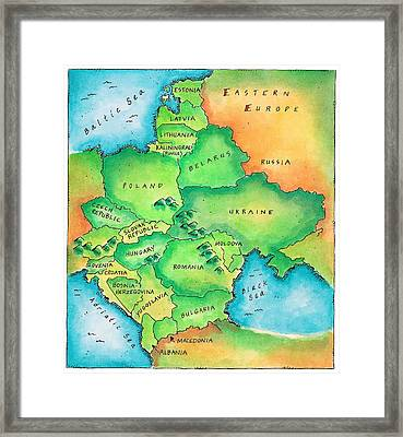 Map Of Eastern Europe Framed Print by Jennifer Thermes