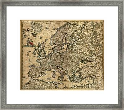 Map Of Europe, 1700 Framed Print