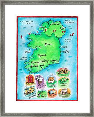 Map Of Ireland Framed Print by Jennifer Thermes