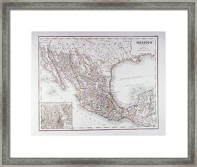 Map Of Mexico And Outlines Of Mexico City Framed Print by Fototeca Storica Nazionale