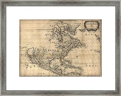 Map Of North America Continent Showing Framed Print by Everett