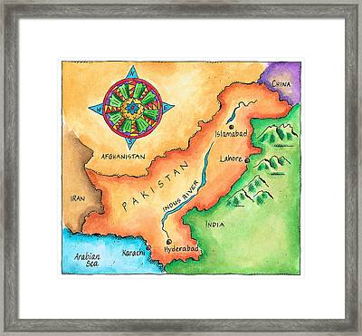 Map Of Pakistan Framed Print