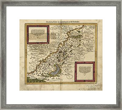 Map Of Palestine, 1588 Framed Print by Photo Researchers
