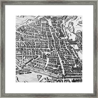 Map Of Paris Framed Print by German School
