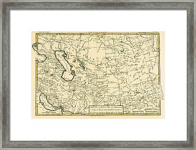 Map Of Persia Framed Print by Guillaume Raynal