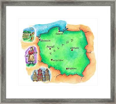 Map Of Poland Framed Print by Jennifer Thermes