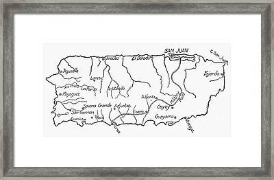 Map Of Puerto Rico, 1899 Framed Print by Granger