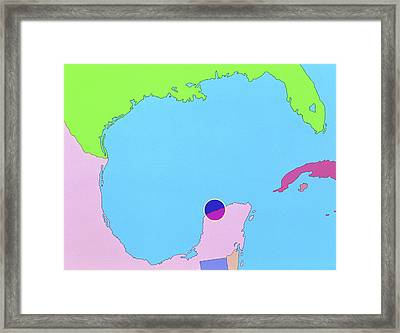 Map Of Size And Location Of Chicxulub Crater Framed Print