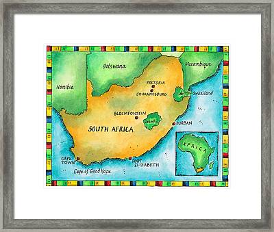 Map Of South Africa Framed Print