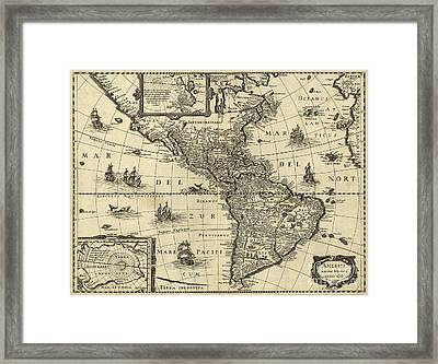Map Of The Americas 1640 Framed Print by Photo Researchers