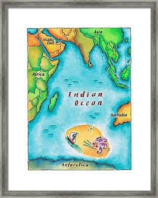 Map Of The Indian Ocean Framed Print by Jennifer Thermes