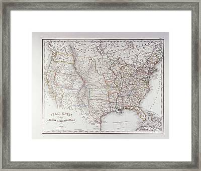 Map Of The Northen United States Framed Print by Fototeca Storica Nazionale