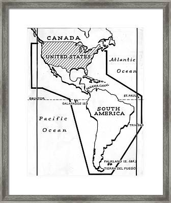 Map Of The Panama Canal, Showing Framed Print by Everett