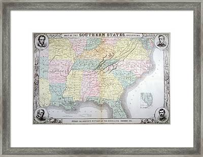 Map Of The Southern States Published Framed Print by Everett