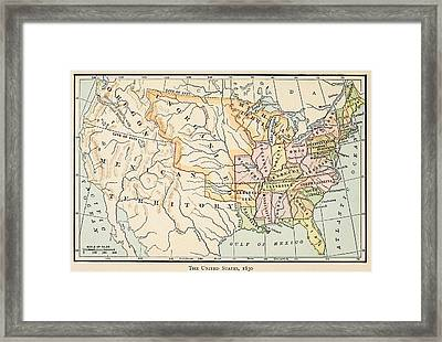 Map Of The United States In 1830 Framed Print by Everett