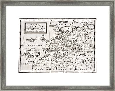 Map Of The West Part Of Barbary Framed Print by Hermann Moll