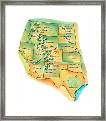 Map Of Western United States Framed Print by Jennifer Thermes