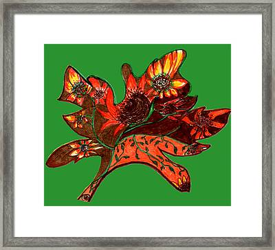 Maple Leaf With Sunflowers Framed Print