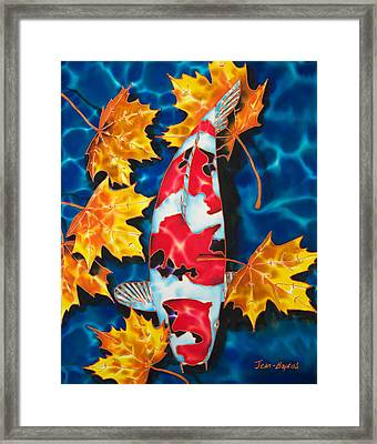 Maple Leaves And Koi Framed Print by Daniel Jean-Baptiste