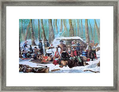 Maple Sugaring, 1872 Framed Print by Photo Researchers