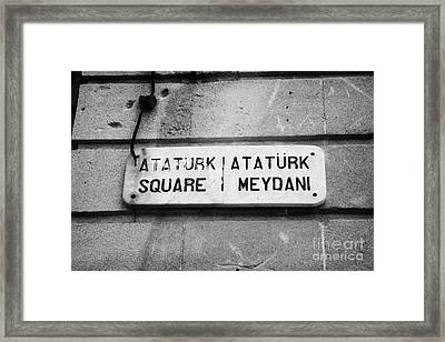 marble old street nameplate of ataturk square nicosia TRNC turkish republic of northern cyprus Framed Print by Joe Fox
