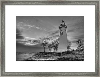 Marblehead Lighthouse In Black And White Framed Print by At Lands End Photography