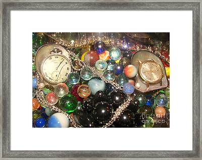 Marbles And Pocket Watches Framed Print by Rachel Carmichael