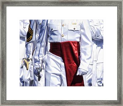 Marching Mardi Gras Marines Framed Print by Kathleen K Parker