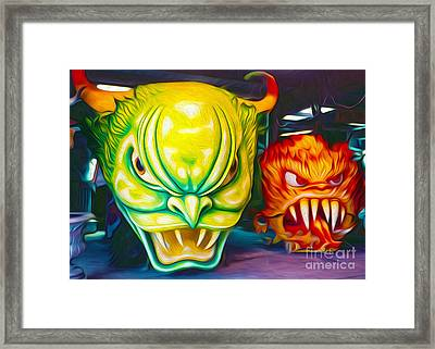 Framed Print featuring the painting Mardi Gras Devils by Gregory Dyer