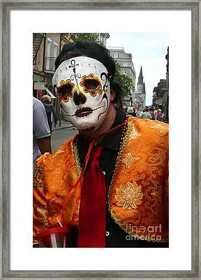 Framed Print featuring the photograph Mardi Gras Man In Mask by Jeanne  Woods