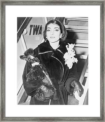 Maria Callas 1923-1977, Holding A Pet Framed Print