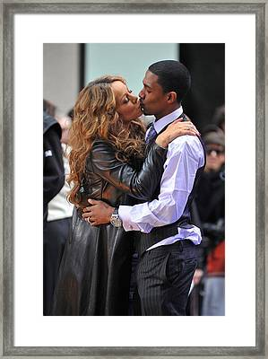 Mariah Carey, Nick Cannon At Talk Show Framed Print by Everett