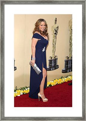 Mariah Carey Wearing A Valentino Gown Framed Print