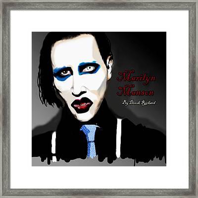 Marilyn Manson Portrait Framed Print by Derek Rickard