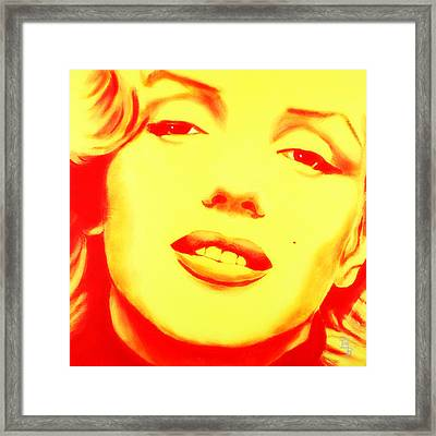 Marilyn Monroe - Yellow Red Framed Print by Bob Baker