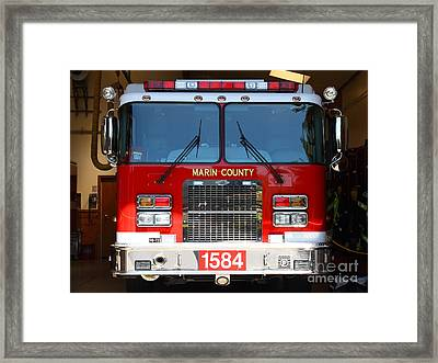 Marin County Fire Department Fire Engine . Point Reyes California . 7d15921 Framed Print by Wingsdomain Art and Photography