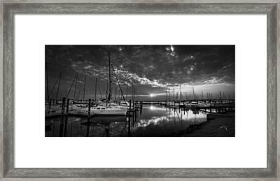 Marina At Fort Monroe Bw Framed Print