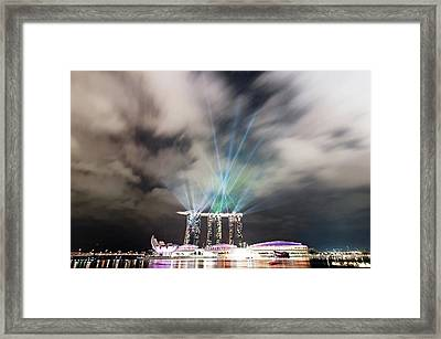 Marina Bay Colourful Night Framed Print by Paul Biris