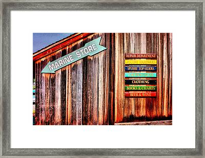 Marina Store Signs Framed Print by Trudy Wilkerson