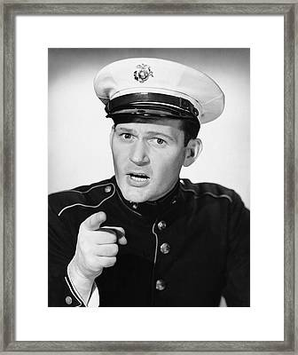 Marine Pointing His Finger Framed Print by George Marks