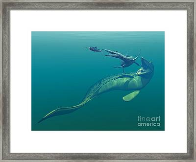 Marine Predators Of The Cretaceous Framed Print by Walter Myers