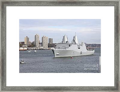 Marines And Sailors Man The Rails Framed Print by Stocktrek Images