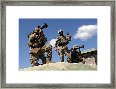 Marines Are Instructed On The Operation Framed Print by Stocktrek Images