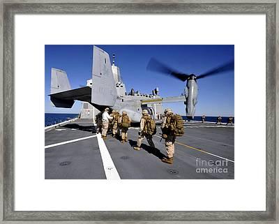 Marines Board An Mv-22 Osprey Aboard Framed Print
